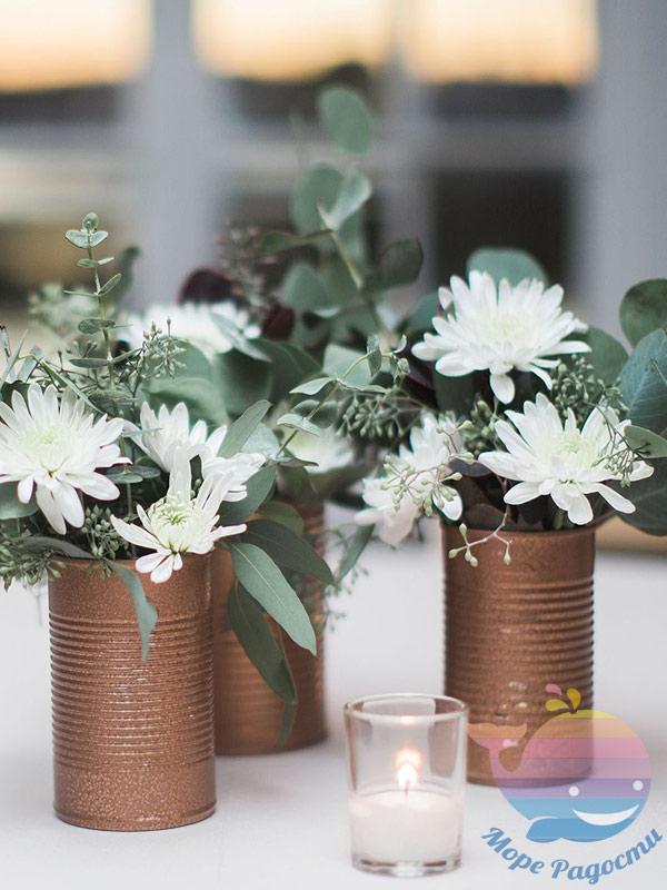 стаканчики для цветов на свадьбе